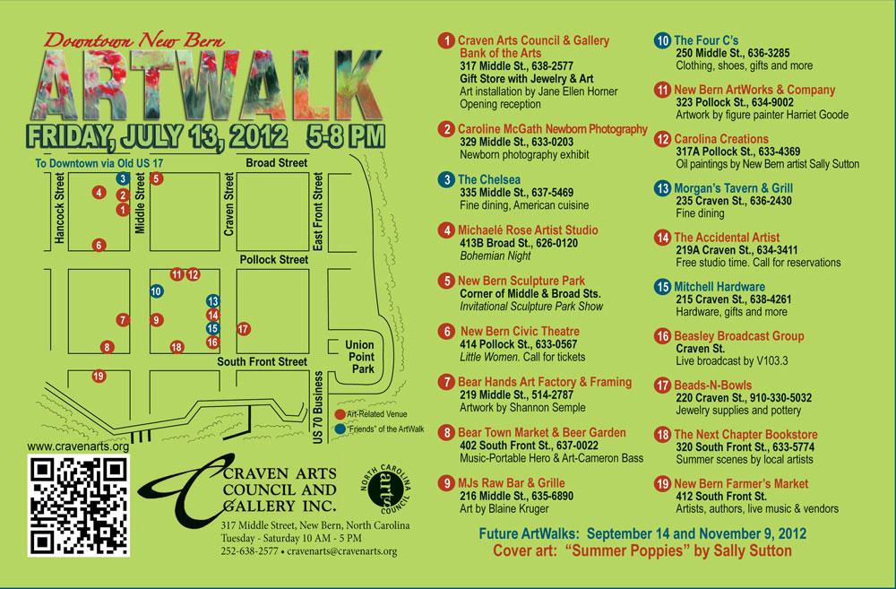 ARTWALK stroll downtown New Bern on July 13th New Bern NCs