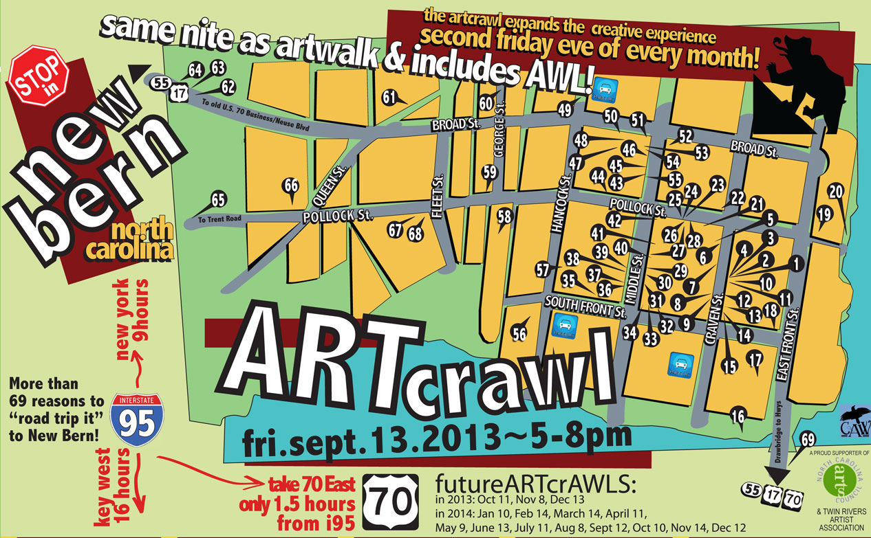 Second Fridays! Every Month! Come visit on Friday, September 13th to ARTcrawl through the landmarks and showcases of art exhibits, live performances & artisan demos by more than 400 creative people in New Bern!